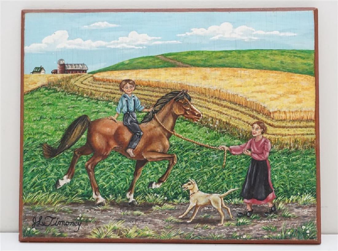 VINTAGE OIL ON BOARD FOLK ART- BOY RIDING HORSE