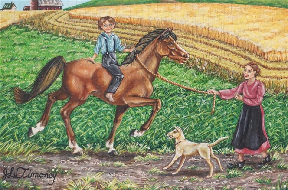 VINTAGE OIL ON BOARD FOLK ART- BOY RIDING HORSE - 2