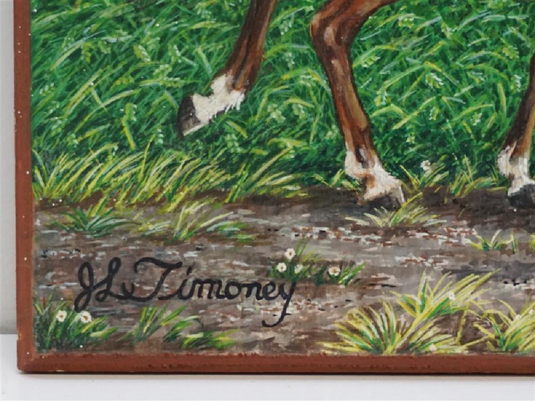VINTAGE OIL ON BOARD FOLK ART- BOY RIDING HORSE - 3