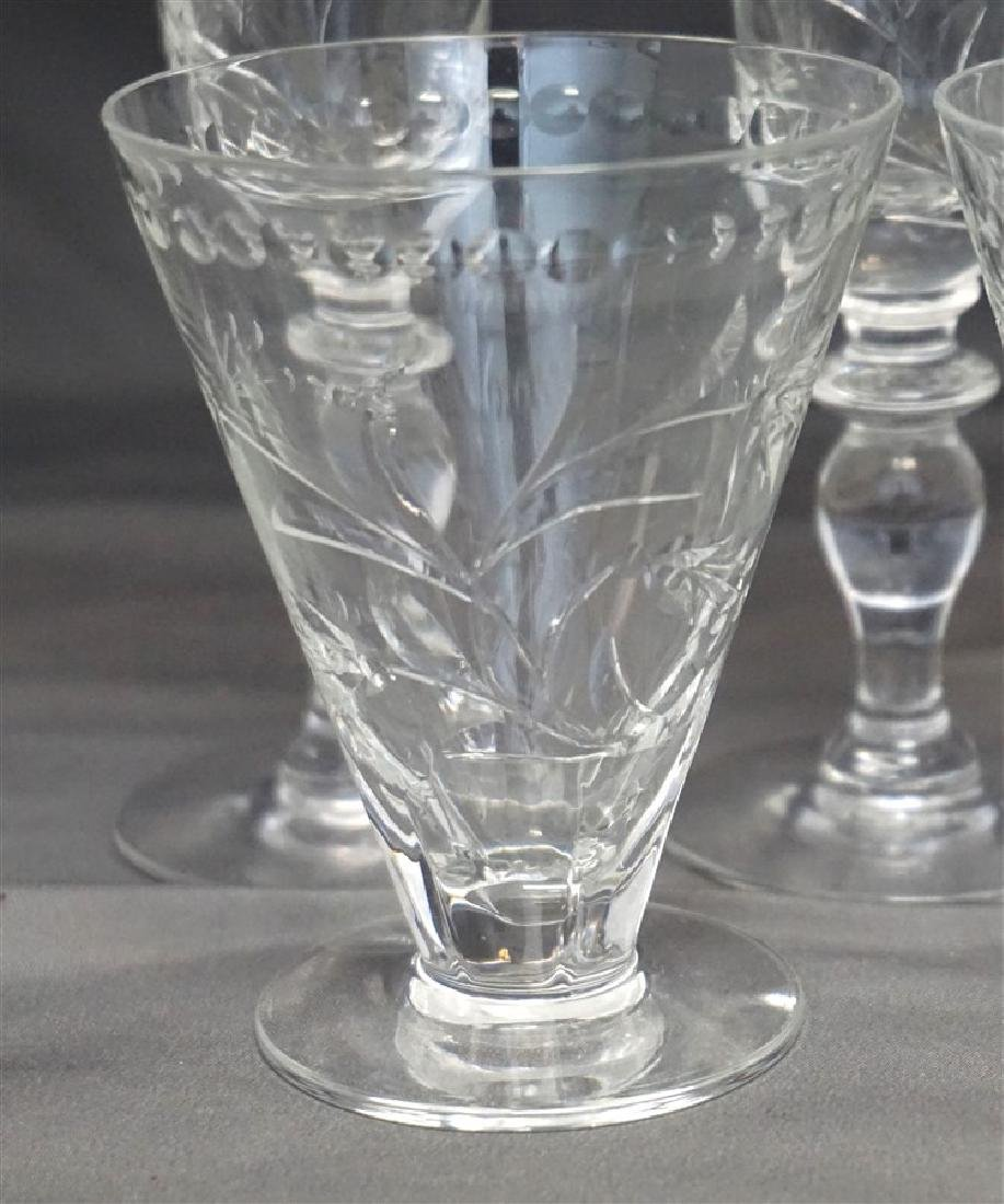 5 HAWKES LEONA CUT CRYSTAL SHERRY GLASSES - 2