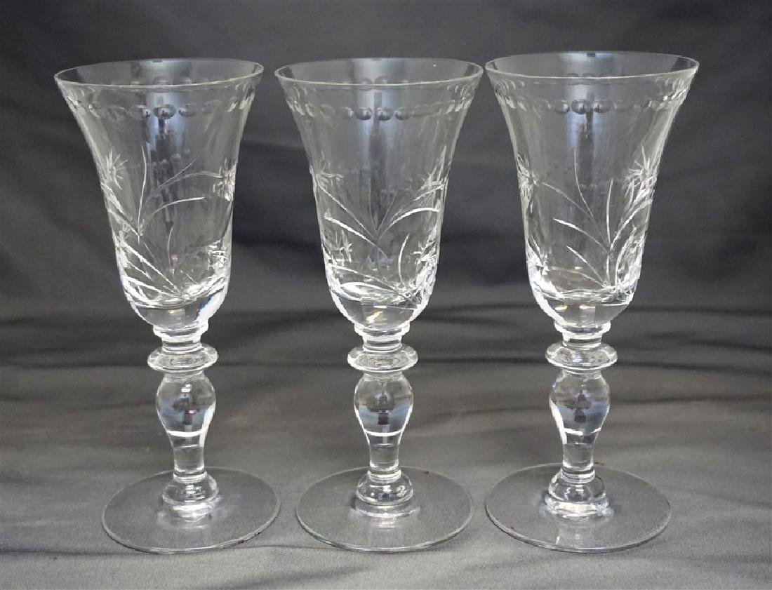 5 HAWKES LEONA CUT CRYSTAL SHERRY GLASSES - 3