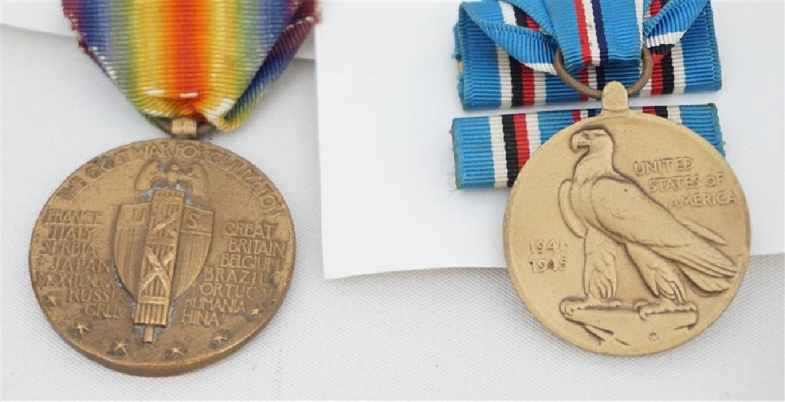 3 PC WWI & WWII BRONZE MEDALS & STERLING SILVER - 5