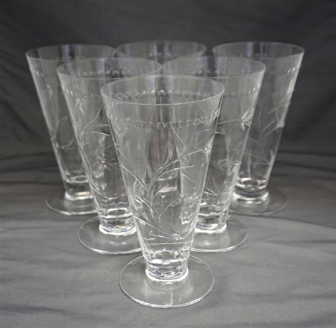 6 HAWKES LEONA CUT CRYSTAL WATER GOBLETS