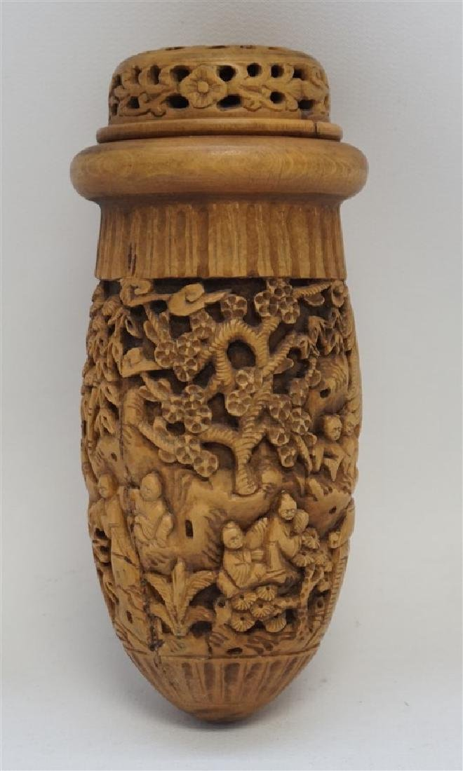 CHINESE QING CHESTNUT CARVED CRICKET CAGE - 4