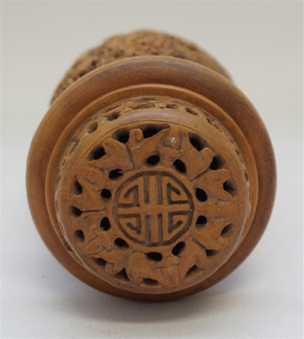 CHINESE QING CHESTNUT CARVED CRICKET CAGE - 5