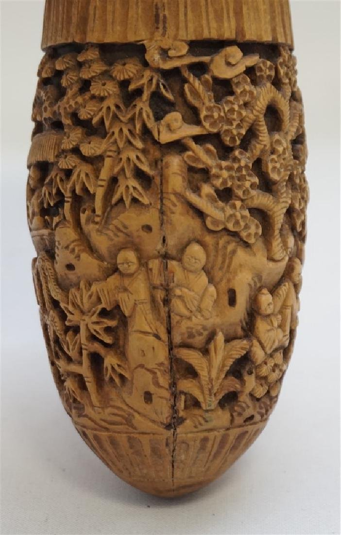 CHINESE QING CHESTNUT CARVED CRICKET CAGE - 7