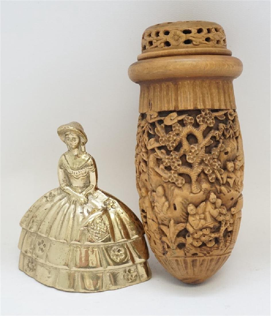 CHINESE QING CHESTNUT CARVED CRICKET CAGE - 9