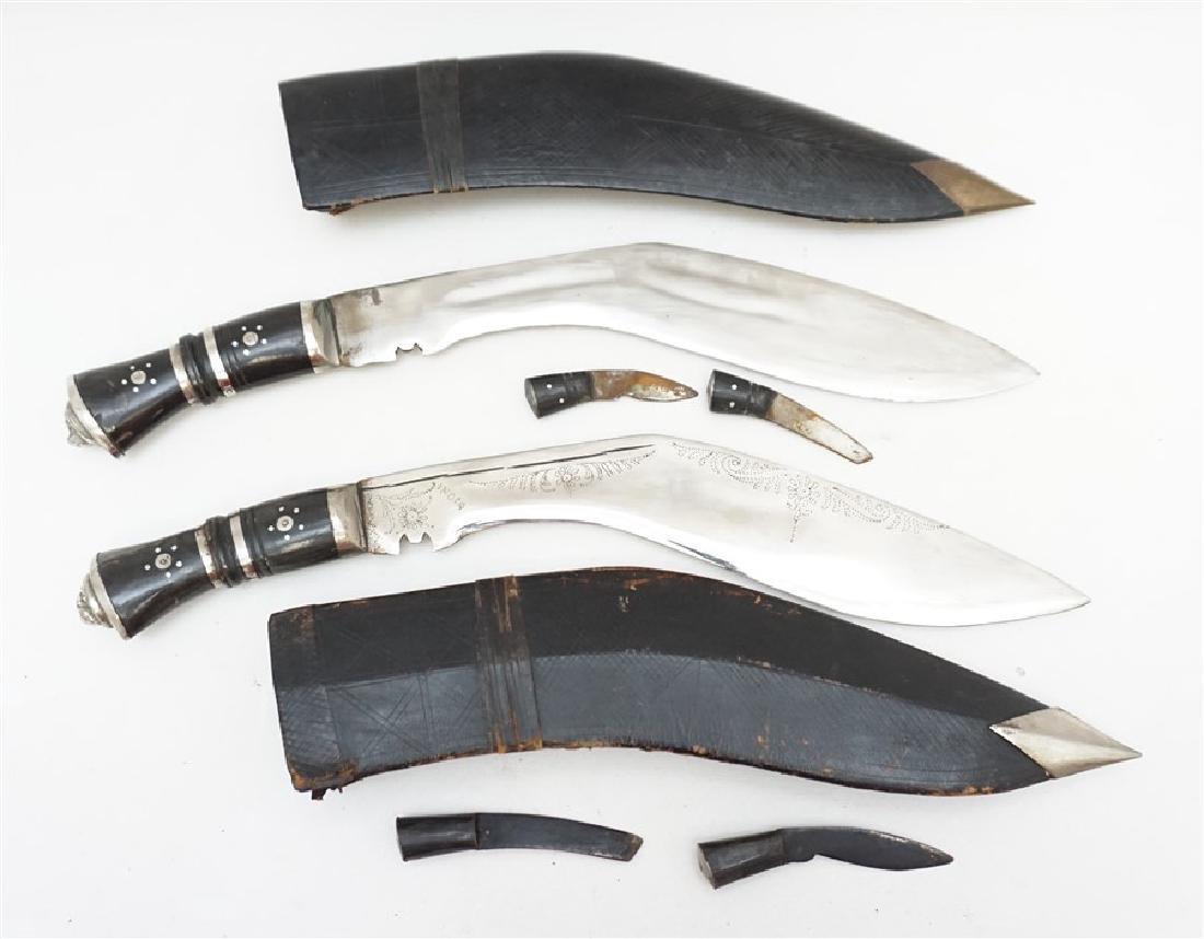 2 KUKRI GURKHA KNIVES HORN & SILVER LION HEAD
