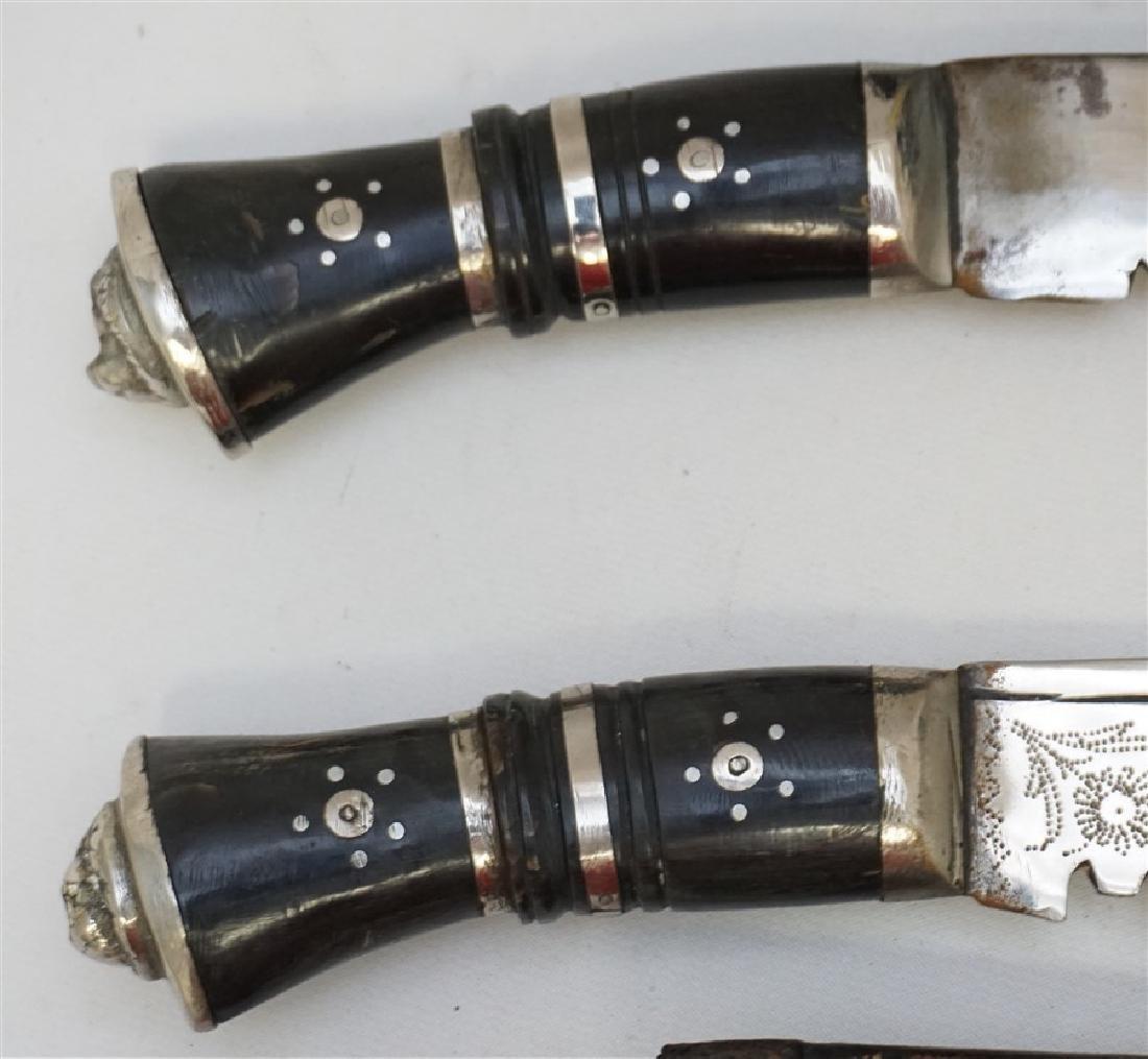 2 KUKRI GURKHA KNIVES HORN & SILVER LION HEAD - 8