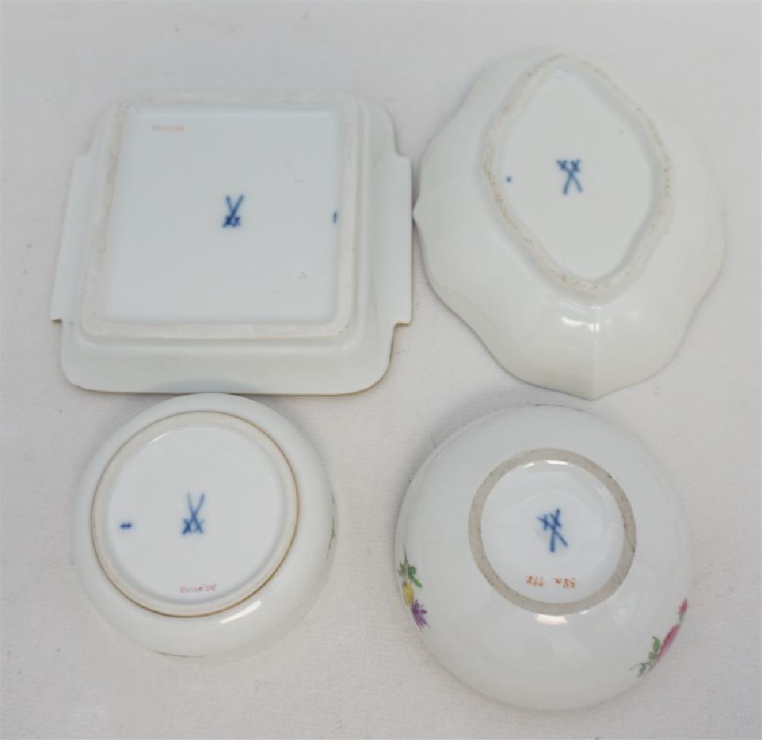 5 MEISSEN PORCELAIN TRINKET BOXES - PIN TRAYS - 4