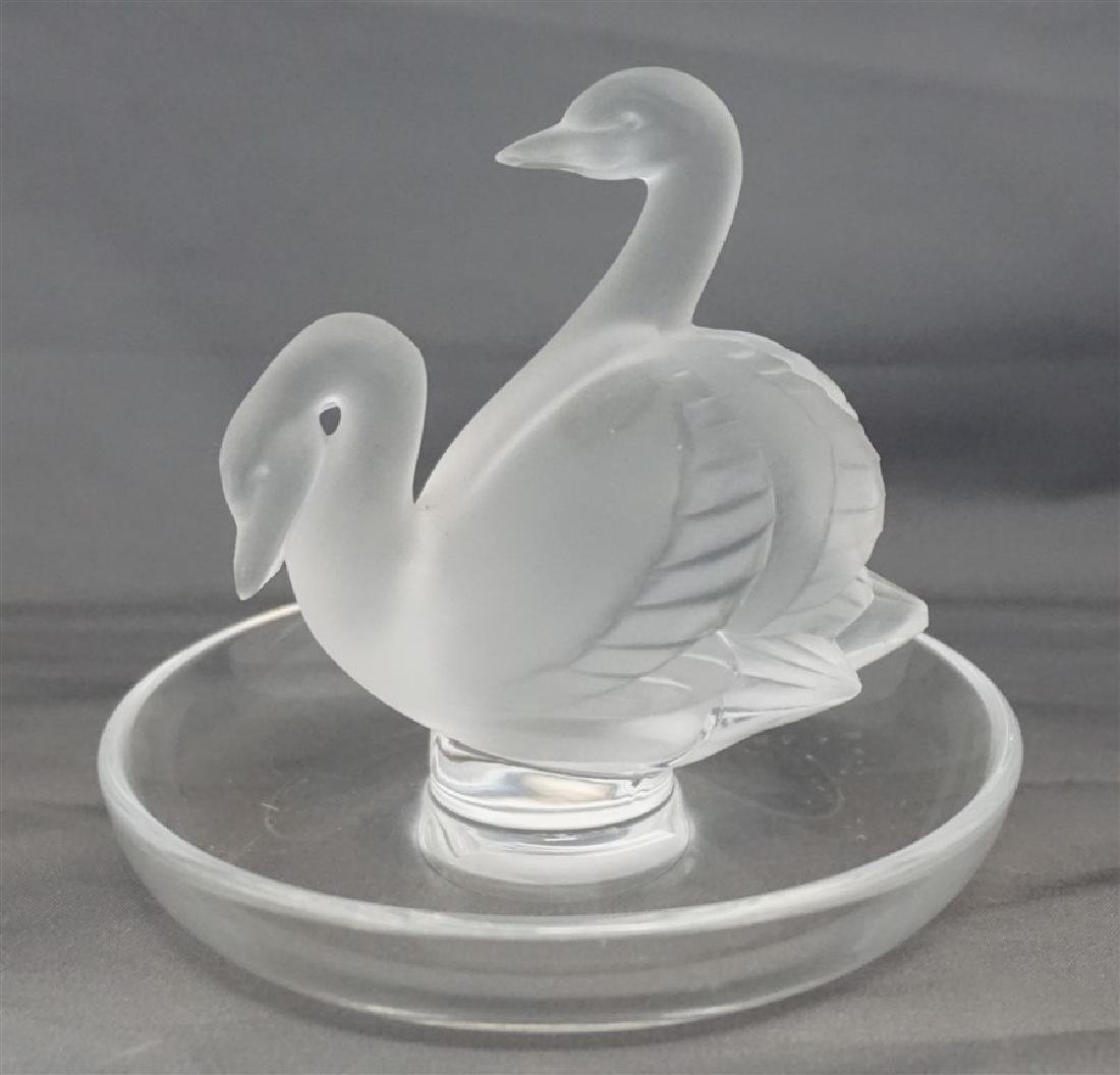 LALIQUE CRYSTAL DOUBLE SWAN RING HOLDER - 3