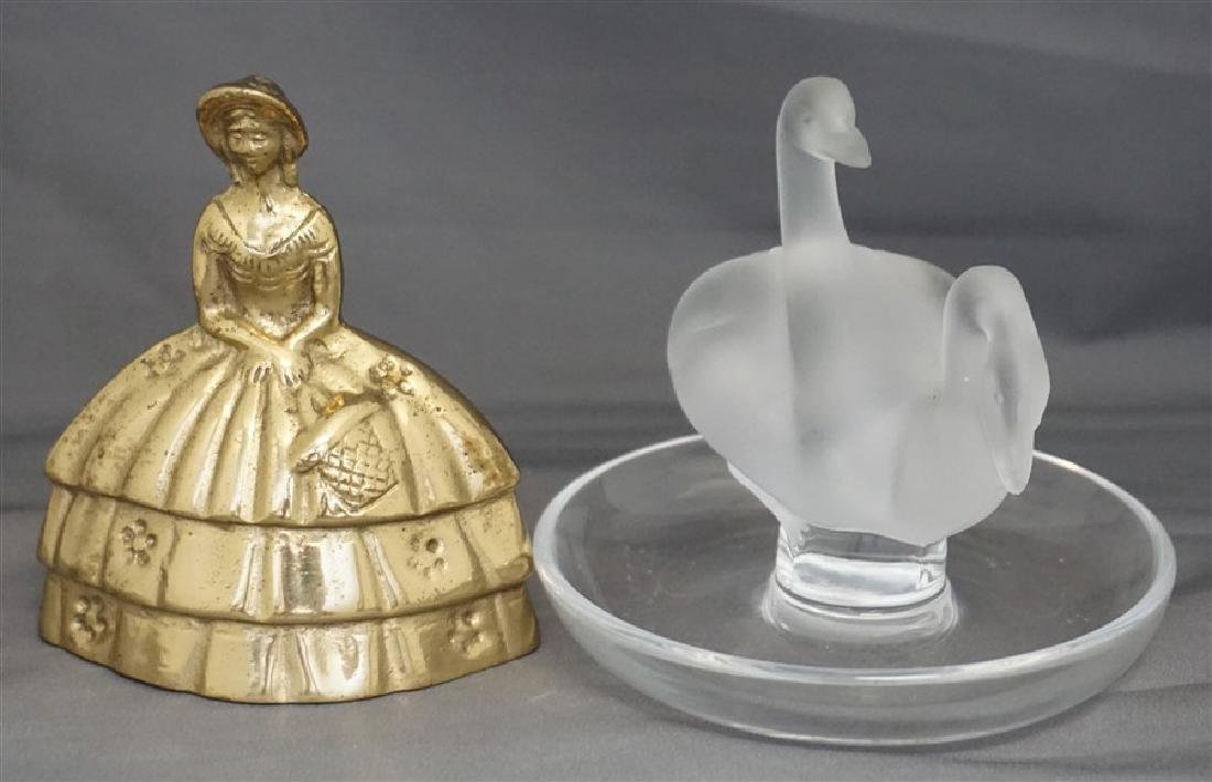 LALIQUE CRYSTAL DOUBLE SWAN RING HOLDER - 6