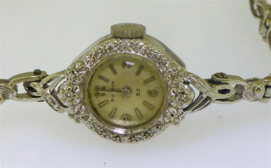 14KT WHITE GOLD BULOVA DIAMOND WATCH - 2