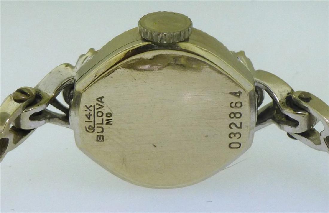 14KT WHITE GOLD BULOVA DIAMOND WATCH - 4