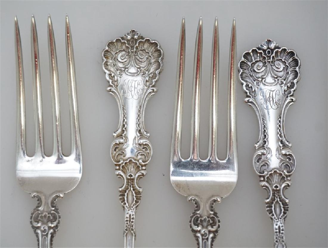 6 WHITING STERLING SILVER POMPADOUR FORKS - 2
