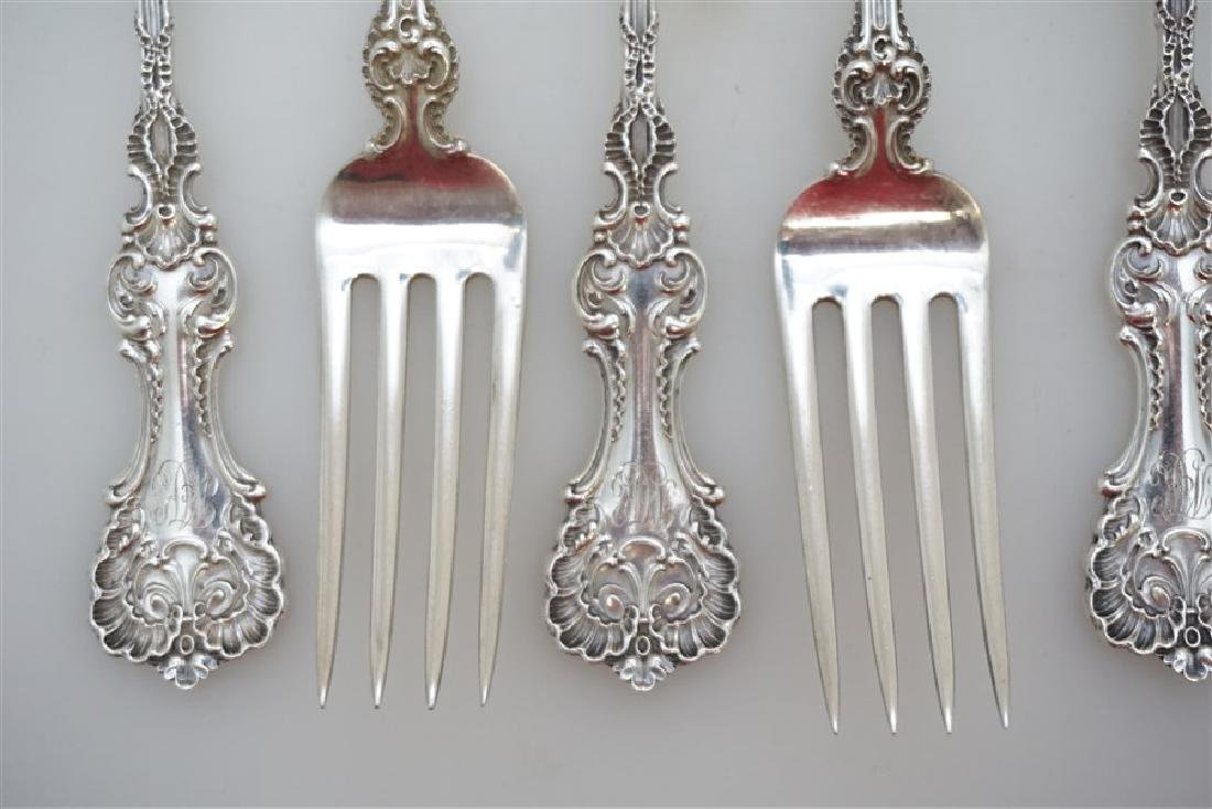 6 WHITING STERLING SILVER POMPADOUR FORKS - 4