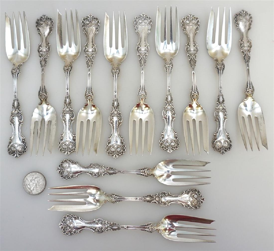 13 WHITING STERLING SILVER POMPADOUR FORKS - 5
