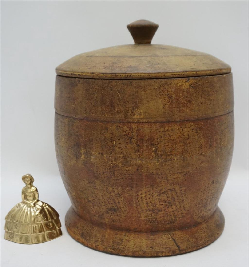 AMERICAN LARGE PAINT DECORATED TREEN CANISTER - 10