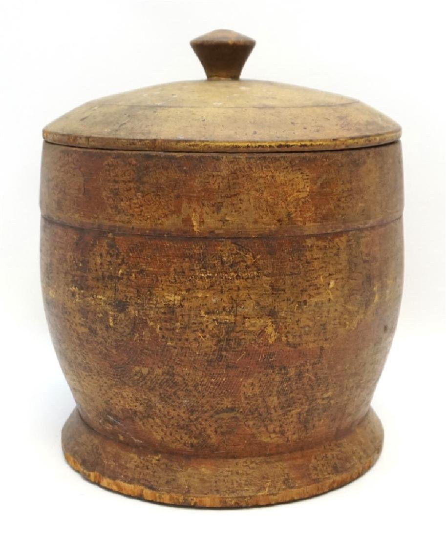 AMERICAN LARGE PAINT DECORATED TREEN CANISTER