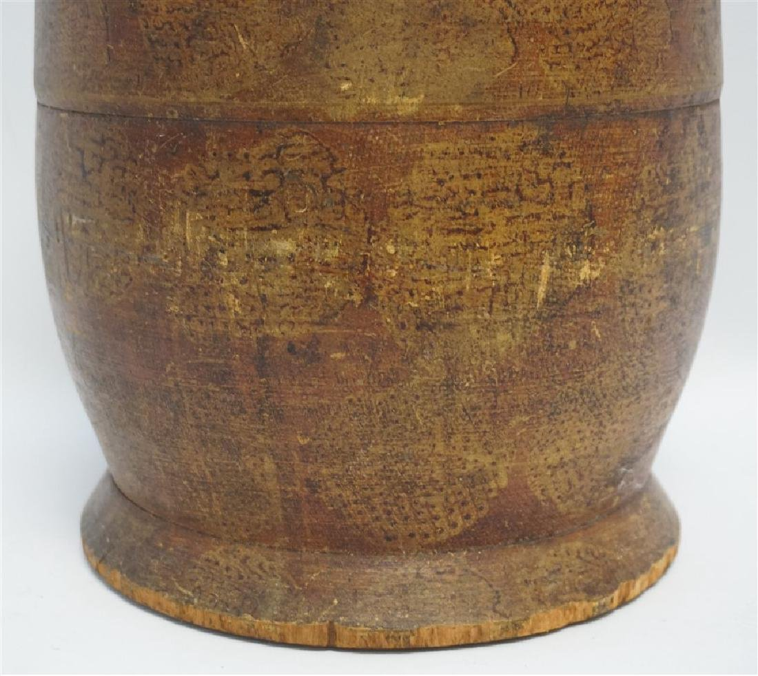 AMERICAN LARGE PAINT DECORATED TREEN CANISTER - 3