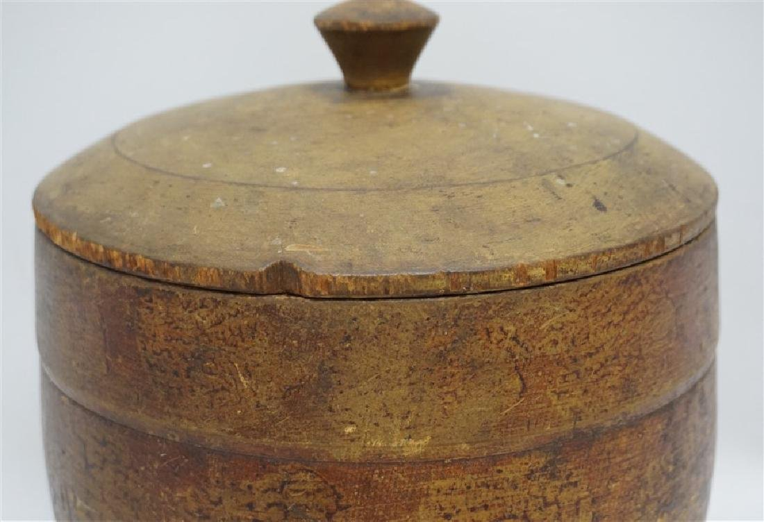 AMERICAN LARGE PAINT DECORATED TREEN CANISTER - 4