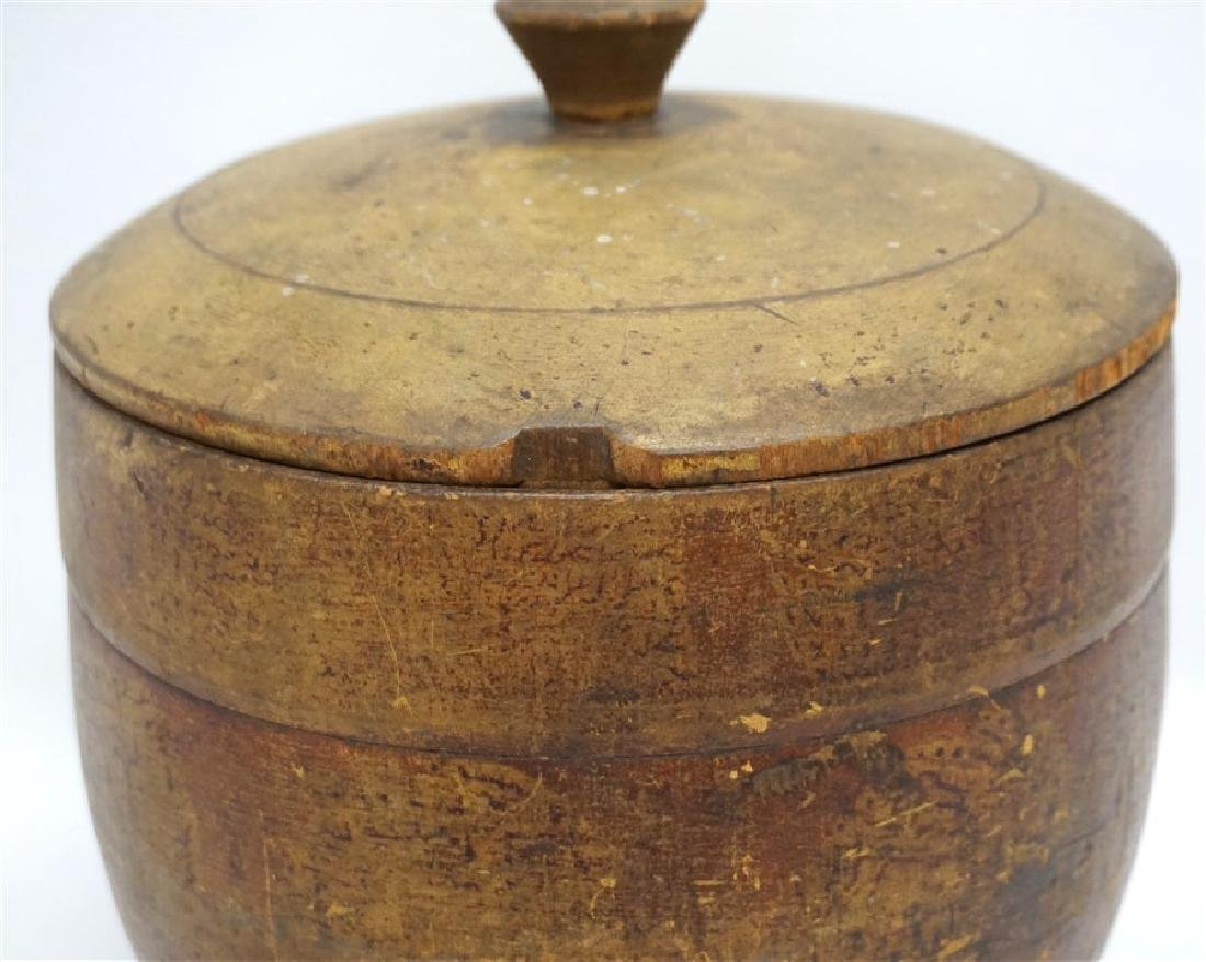 AMERICAN LARGE PAINT DECORATED TREEN CANISTER - 5