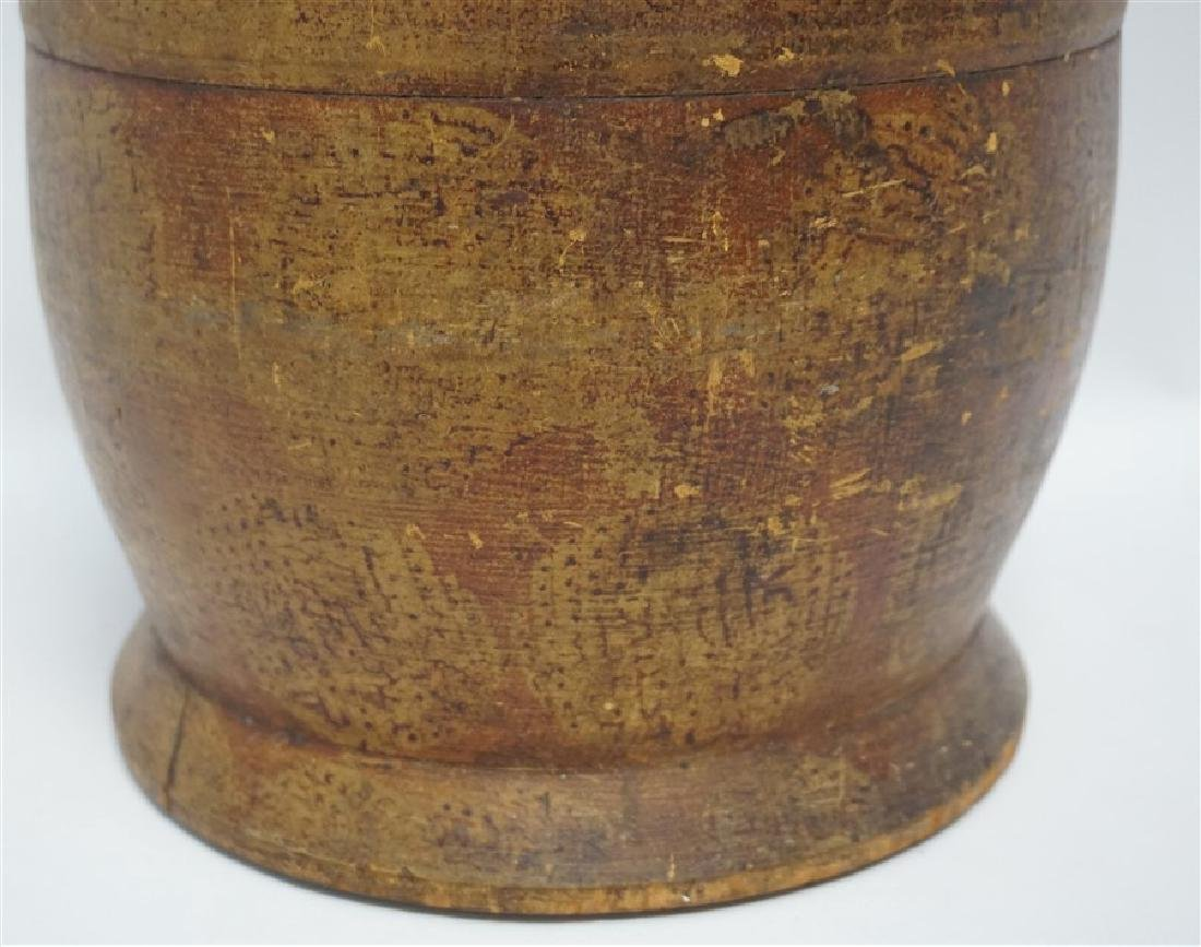 AMERICAN LARGE PAINT DECORATED TREEN CANISTER - 6