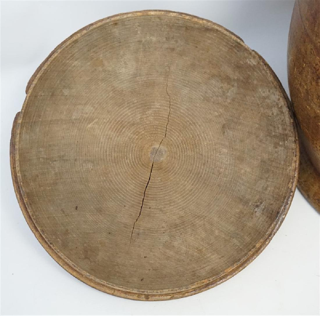 AMERICAN LARGE PAINT DECORATED TREEN CANISTER - 8