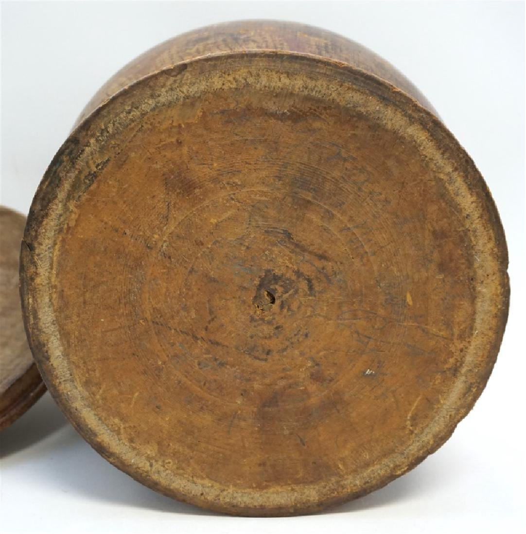 AMERICAN LARGE PAINT DECORATED TREEN CANISTER - 9