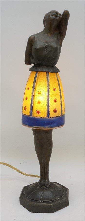BREVETE ART DECO LADY LAMP GLASS SKIRT