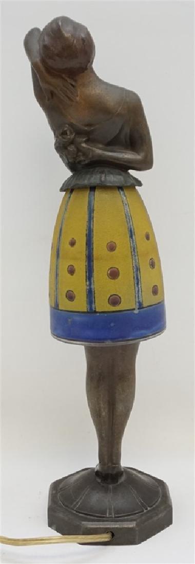 BREVETE ART DECO LADY LAMP GLASS SKIRT - 5
