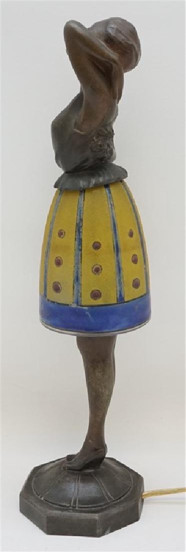 BREVETE ART DECO LADY LAMP GLASS SKIRT - 7