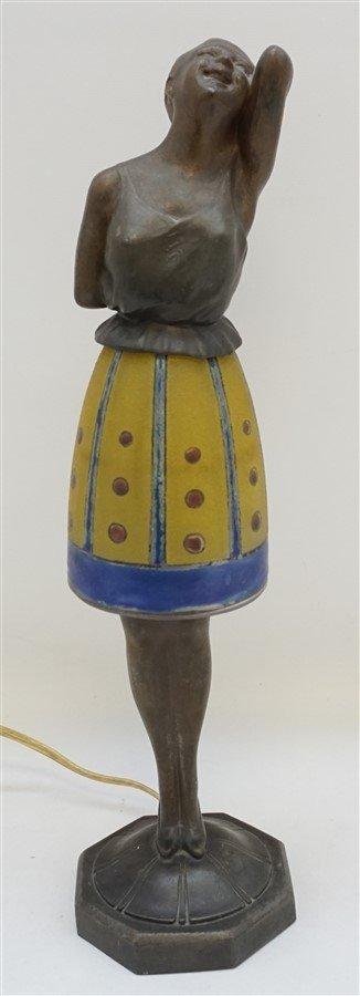 BREVETE ART DECO LADY LAMP GLASS SKIRT - 8