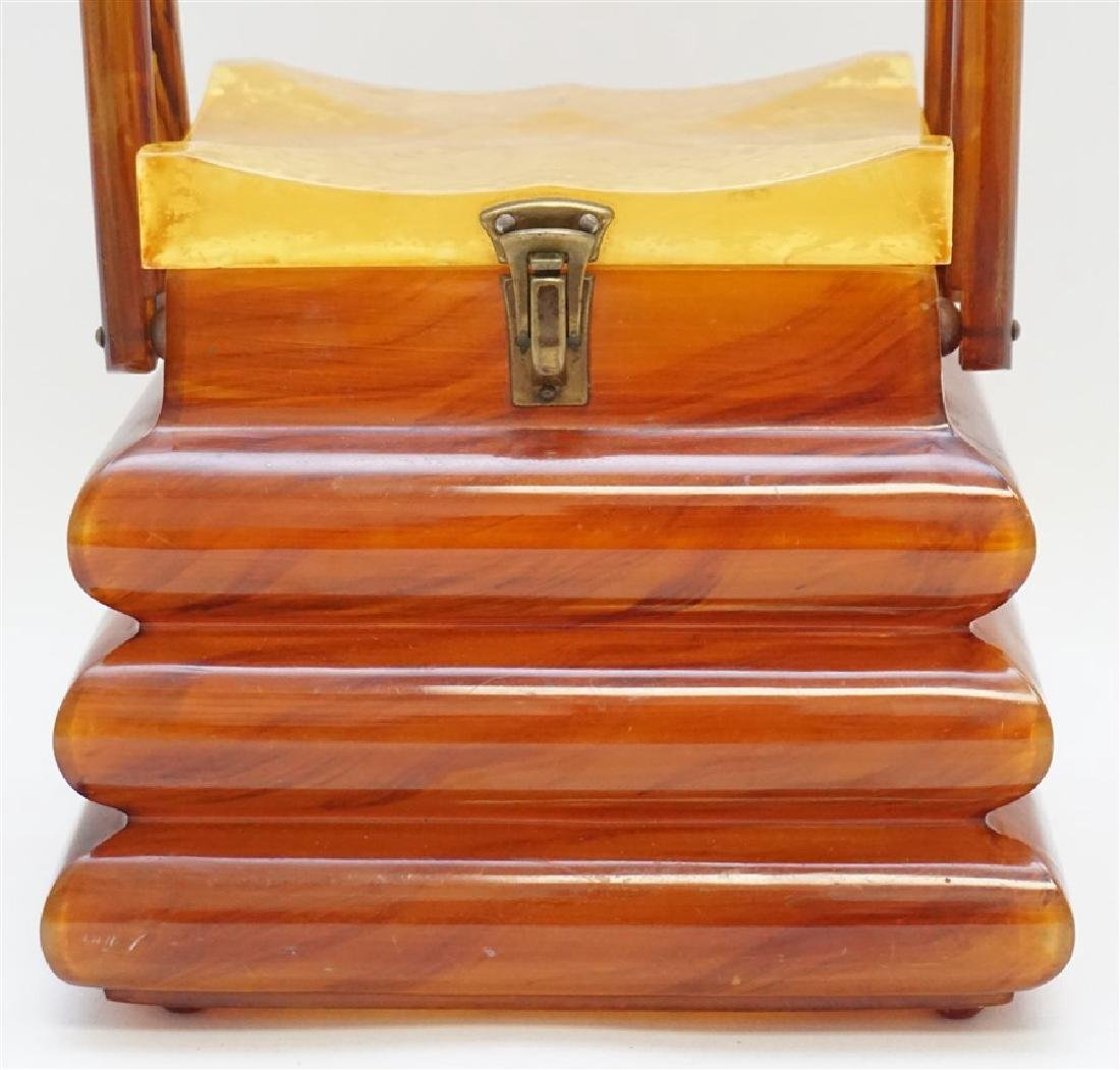 ART DECO PAGODA BUTTERSCOTCH BAKELITE PURSE - 2