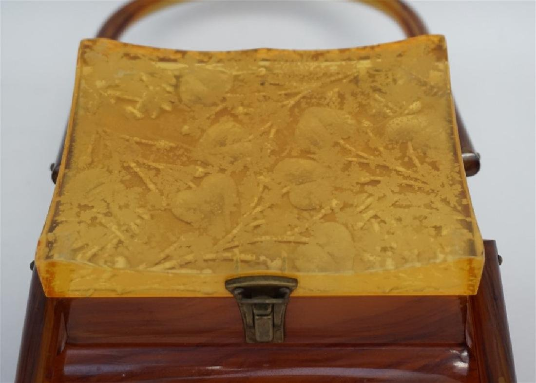 ART DECO PAGODA BUTTERSCOTCH BAKELITE PURSE - 6
