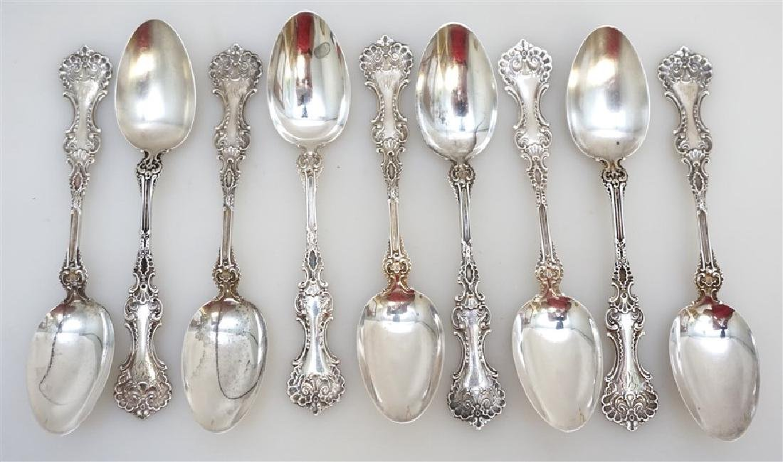 9 WHITING STERLING SILVER POMPADOUR TEASPOONS