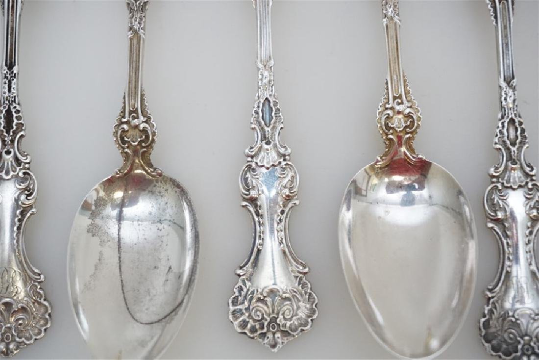 9 WHITING STERLING SILVER POMPADOUR TEASPOONS - 4