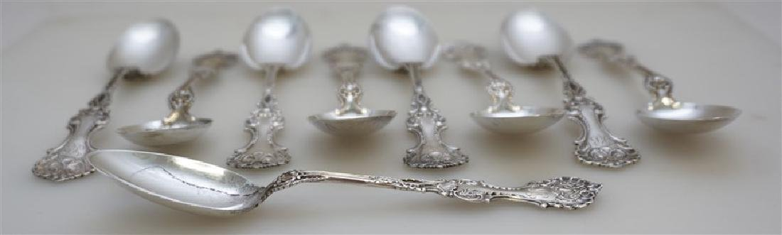 9 WHITING STERLING SILVER POMPADOUR TEASPOONS - 5