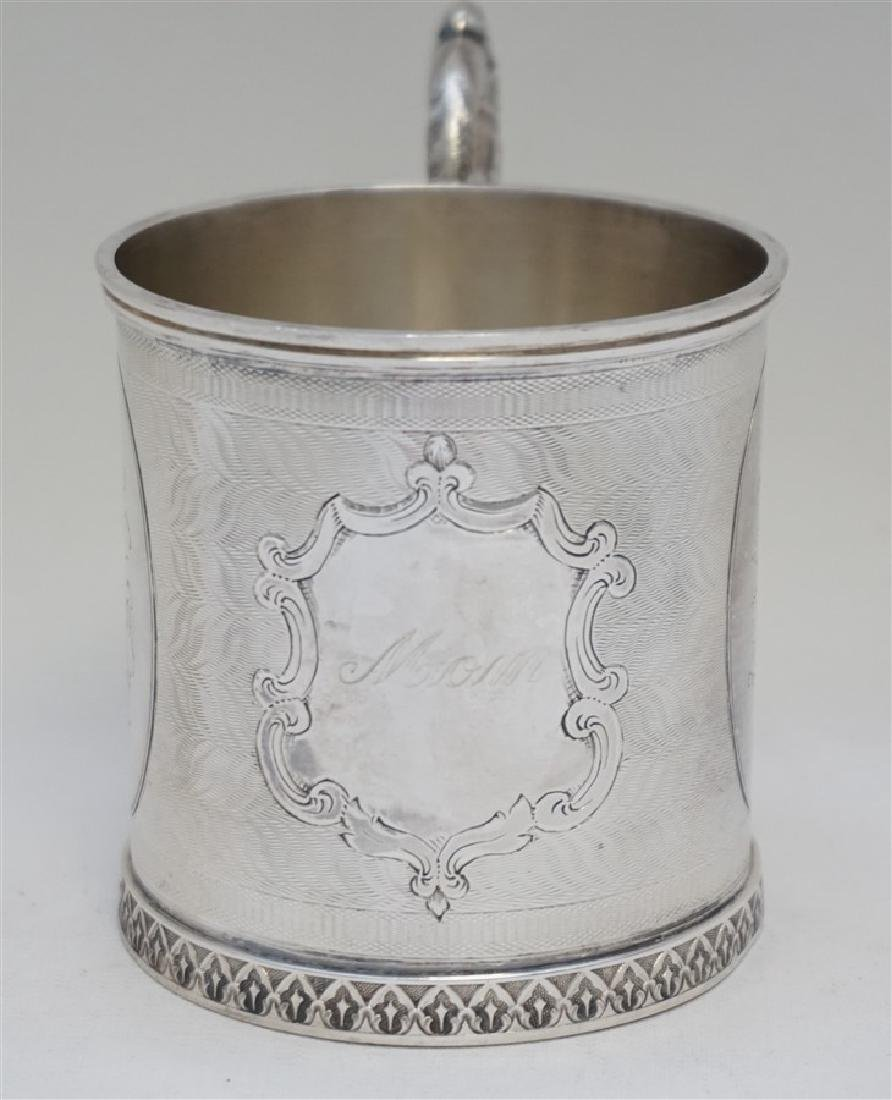 "ANTIQUE COIN SILVER ETCHED ""MOM"" CUP - 2"