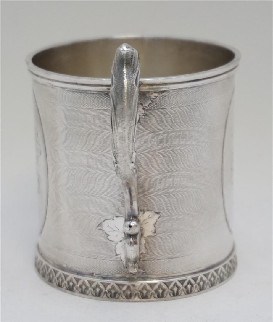 "ANTIQUE COIN SILVER ETCHED ""MOM"" CUP - 5"