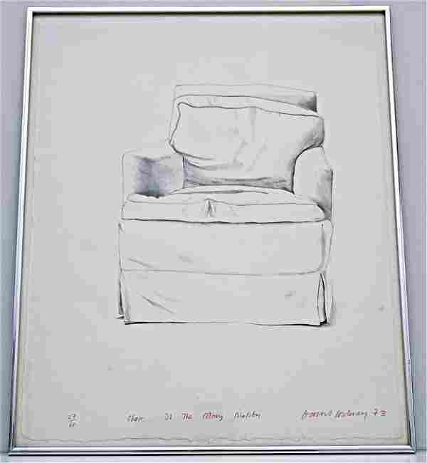 DAVID HOCKNEY SIGNED CHAIR 38 COLONY MALIBU