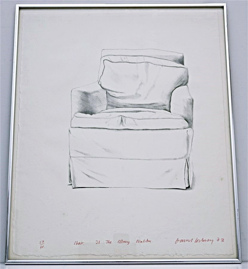 DAVID HOCKNEY SIGNED CHAIR 38 COLONY MALIBU
