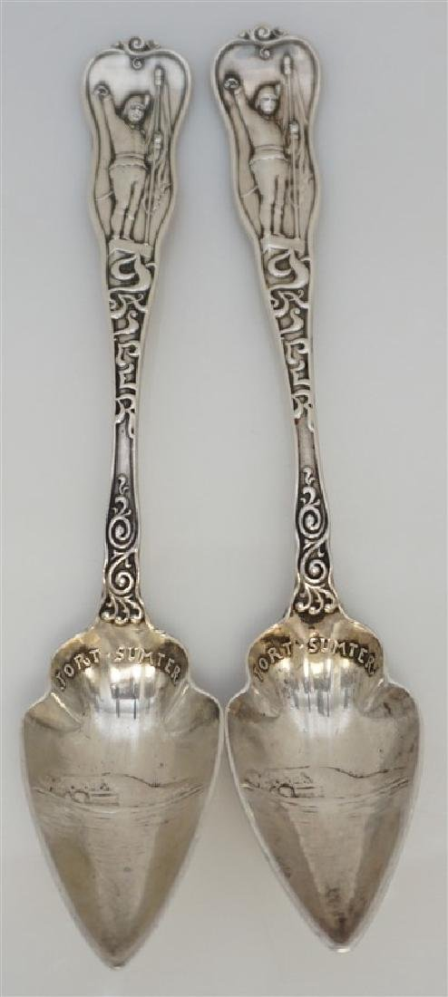 2 19th c STERLING SILVER CHARLESTON CITRUS SPOONS