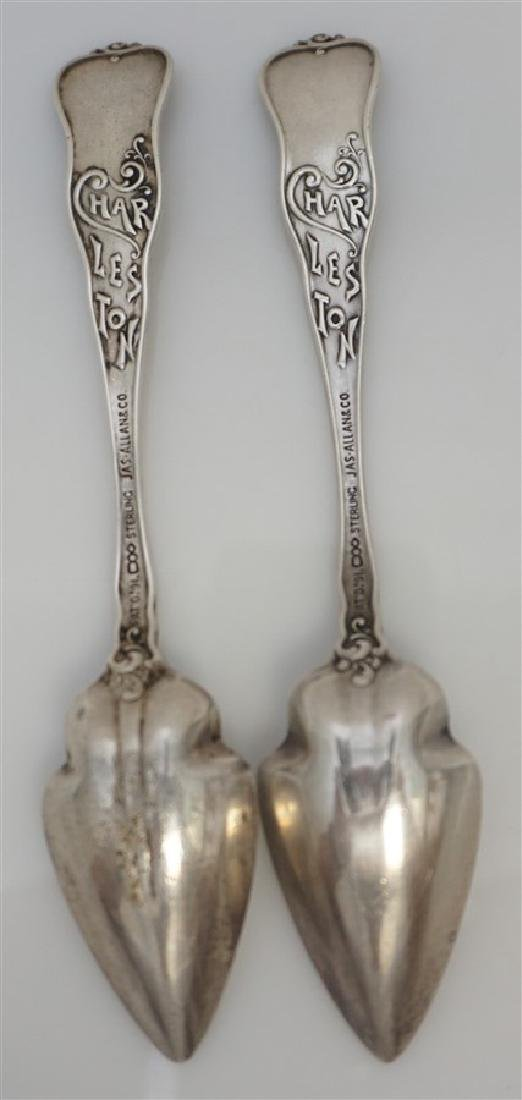 2 19th c STERLING SILVER CHARLESTON CITRUS SPOONS - 5