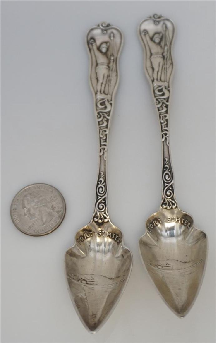 2 19th c STERLING SILVER CHARLESTON CITRUS SPOONS - 8