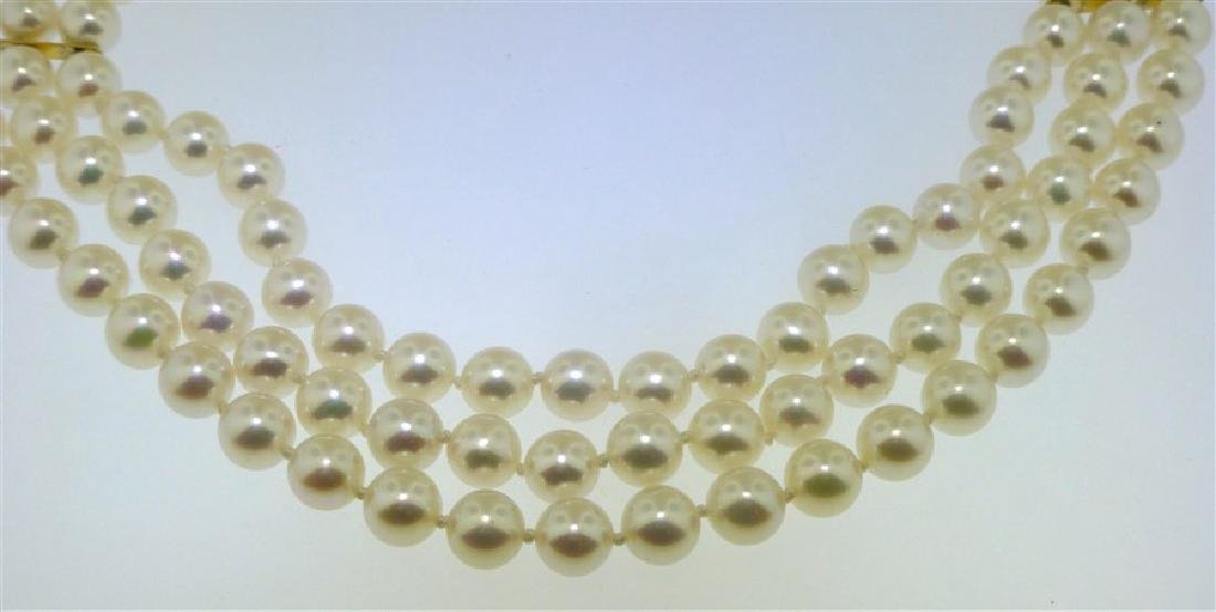 TRIPLE STRAND PEARL NECKLACE - 2
