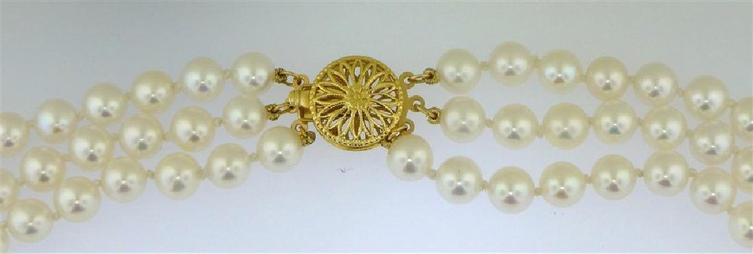 TRIPLE STRAND PEARL NECKLACE - 3