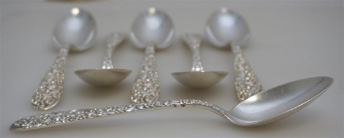 6 STERLING BALTIMORE REPOUSSE SOUP SPOONS - 5