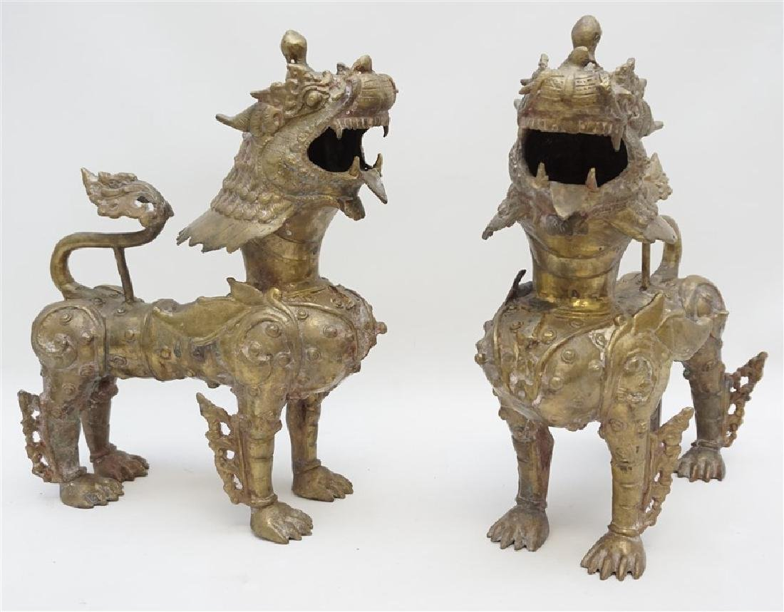 PAIR OF ANTIQUE BRONZE YALI - TEMPLE LIONS