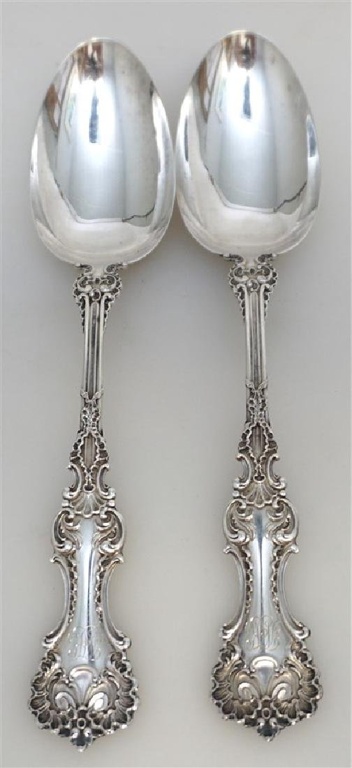 2 WHITING STERLING SILVER POMPADOUR SERVING SPOONS